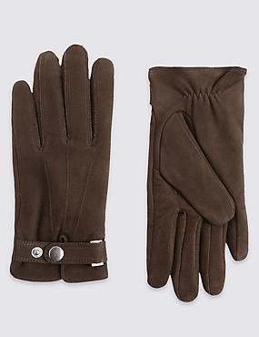 Leather Press Stud Gloves with Thermowarmth™, BROWN, catlanding