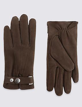 Leather Press Stud Gloves, BROWN, catlanding