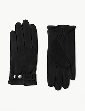 Leather Press Stud Gloves with Thermowarmth™, BLACK, catlanding