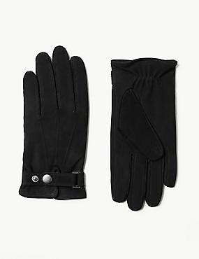 Leather Press Stud Gloves, BLACK, catlanding