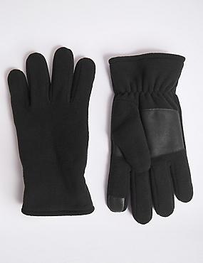 Fleece Gloves, BLACK, catlanding