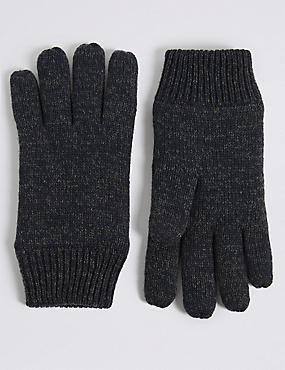 Knitted Gloves, NAVY, catlanding