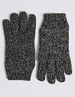 Knitted Gloves, GREY, catlanding