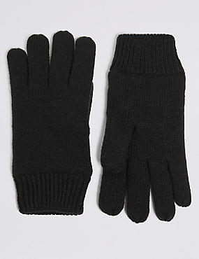 Knitted Gloves, BLACK, catlanding
