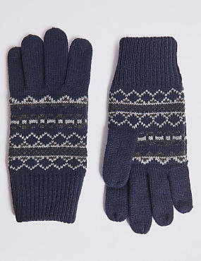 Fairisle Gloves, NAVY, catlanding
