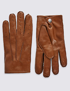 Leather Driving Gloves, TAN, catlanding