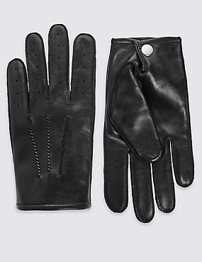 Leather Driving Gloves, BLACK, catlanding