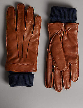 Italian Leather Cuff Knitted Gloves with Thinsulate™