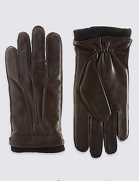 Leather Thinsulate™ Gloves with Knitted Cuff
