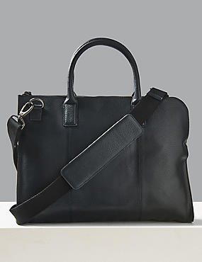Pebble Grain Leather Briefcase, , catlanding