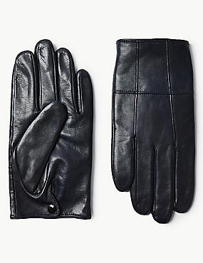 Leather Panelled Driving Gloves, DARK NAVY, catlanding