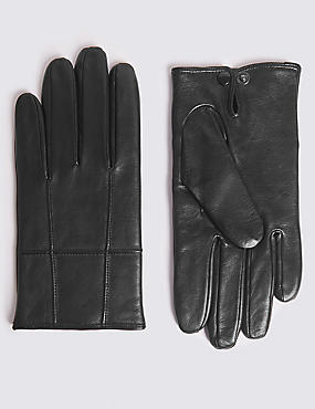 Leather Panelled Driving Gloves, BLACK, catlanding