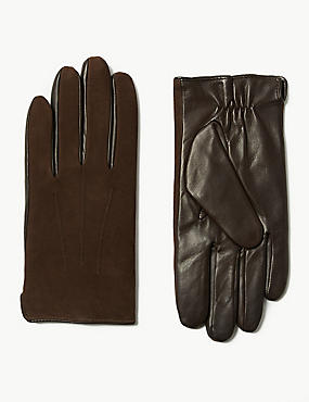 Leather Gloves, DARK BROWN, catlanding