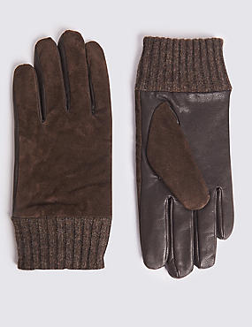 Leather and Suede Gloves with Cuff, DARK BROWN, catlanding