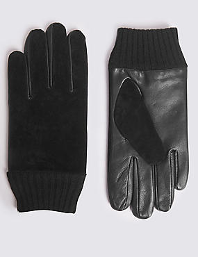 Leather and Suede Gloves with Cuff, BLACK, catlanding