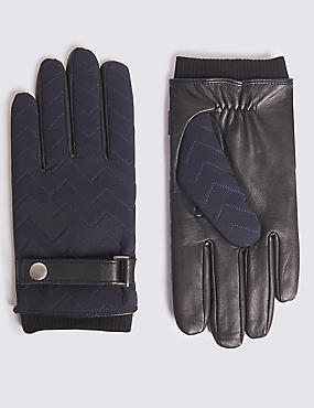 Quilted with Wrist Strap Gloves, DARK NAVY, catlanding