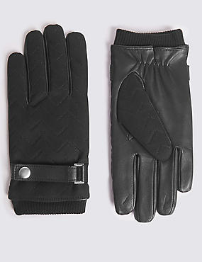 Quilted with Wrist Strap Gloves, BLACK, catlanding