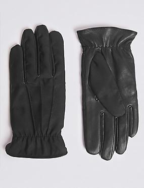 Fabric & Leather Mix Gloves, BLACK, catlanding