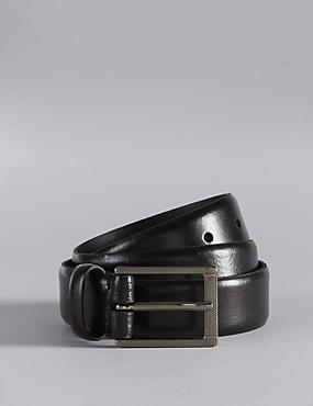 Leather Textured Rectangular Buckle Belt