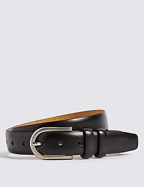 Leather Double Keeper Oval Belt, BLACK, catlanding