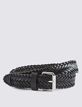 Leather Plaited Square Buckle Belt
