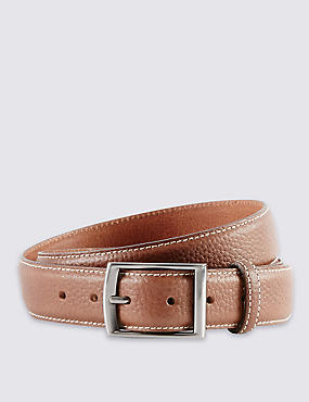 Leather Double Keeper Edge Stitched Belt
