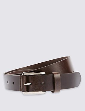 Leather Casual Belt, BROWN, catlanding