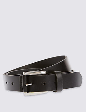 Leather Casual Belt, BLACK, catlanding