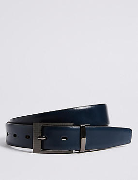 Leather Buckle Reversible Belt