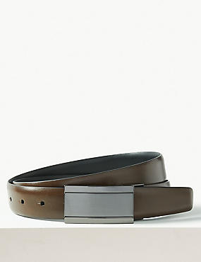 Leather Reversible Belt, DARK TAN, catlanding