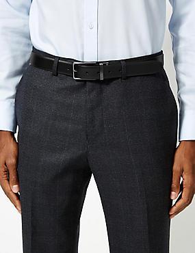 Leather Rectangular Buckle Reversible Belt, BLACK/BROWN, catlanding