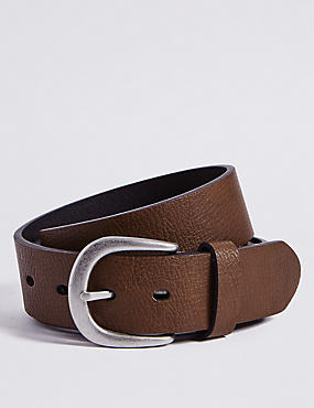 Denim Buckle Belt, BROWN, catlanding