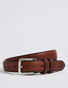 Leather Double Keeper Chino Belt, BROWN, catlanding