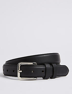 Leather Double Keeper Chino Belt, BLACK, catlanding
