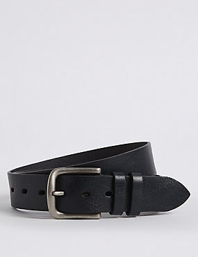 Leather Tumbled Denim Belt, NAVY, catlanding