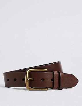 Leather Tumbled Denim Belt, MOCHA, catlanding