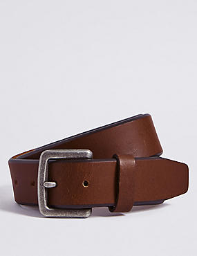 Bevelled Edge Leather Buckle Belt