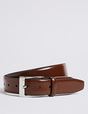 Coated Leather Active Waistband Belt, BROWN, catlanding