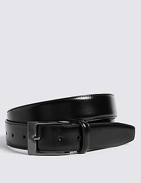 Coated Leather Active Waistband Smart Belt, BLACK, catlanding