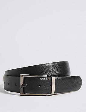 Coated Leather Textured Reversible Belt, BLACK/BROWN, catlanding
