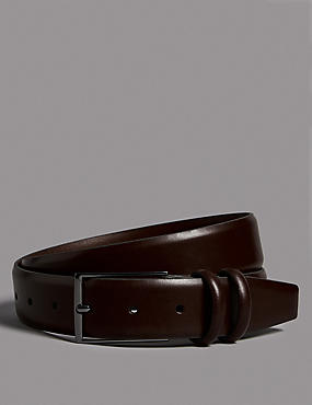 Leather Rectangular Buckle Smart Belt, BROWN, catlanding