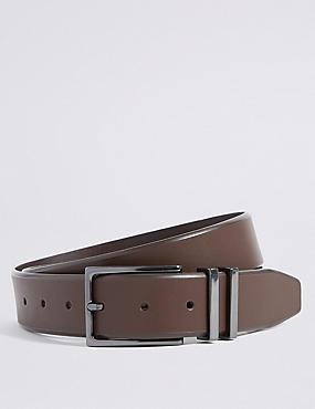 Leather Double Metal Keeper Smart Belt, BROWN, catlanding