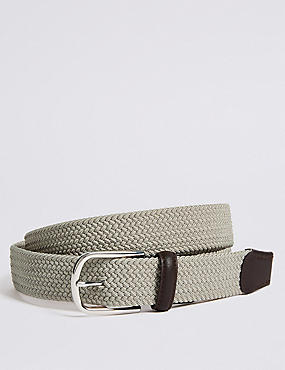 Stretch Web Active Waistband Casual Belt, STONE, catlanding