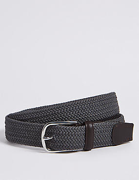 Stretch Web Active Waistband Casual Belt, CHARCOAL, catlanding