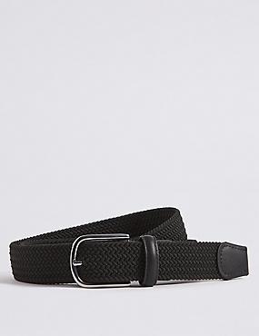 Stretch Web Buckle Belt, BLACK, catlanding
