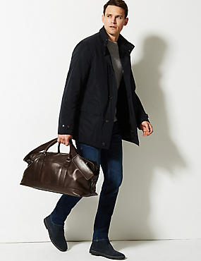 Casual Leather Holdall, BROWN, catlanding