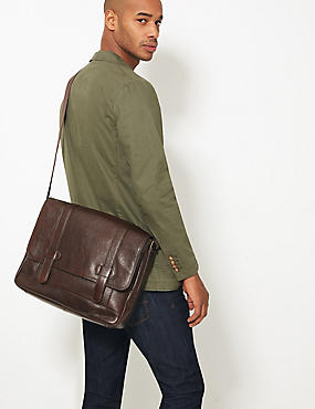 Casual Leather Messenger, BROWN, catlanding