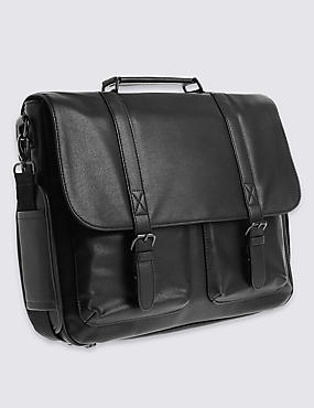 Faux Leather Double Gusset Brief Case