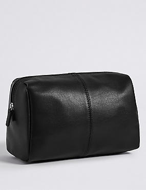 Smooth Faux Leather Washbag
