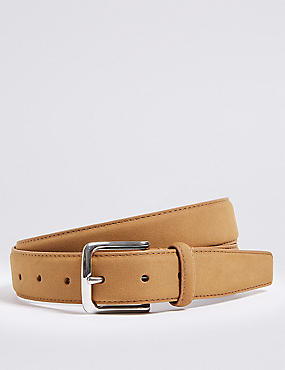 Faux Suede Stitch Detail Belt, TAN, catlanding